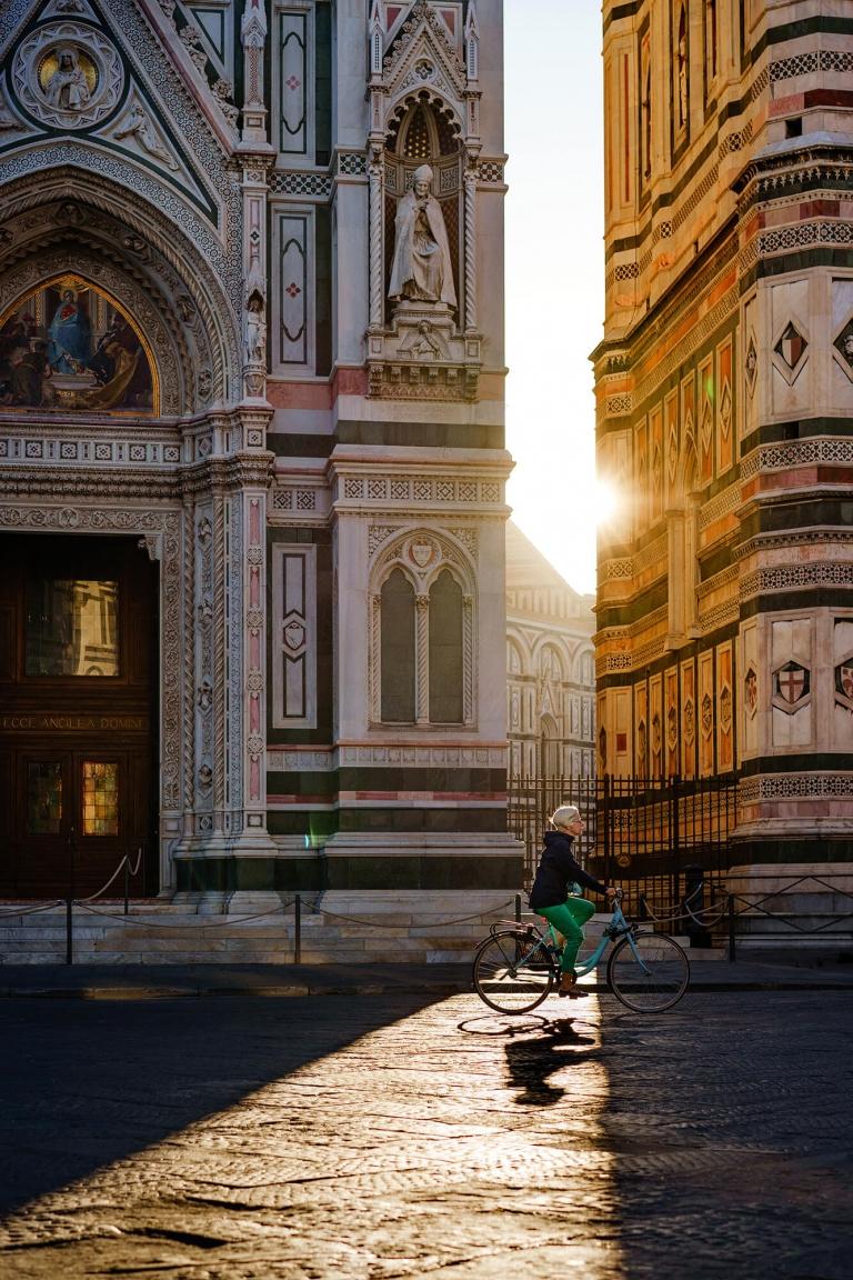 early morning bike ride, Florence, Italy, travel photographer UK